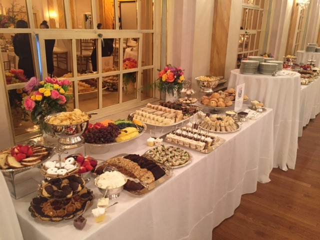 flowers and buffet table