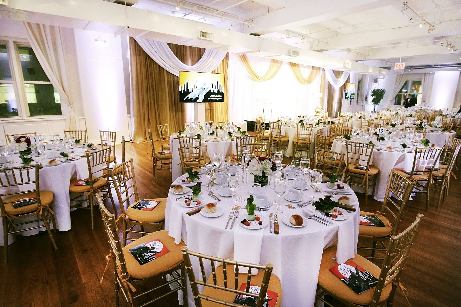 gold Poly and ballroom chairs