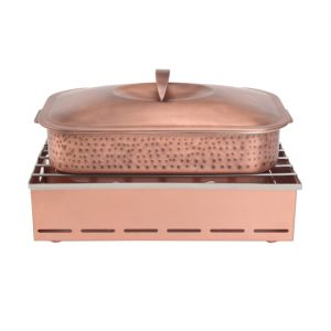 4 Quart Rectangular Hammered Copper Dutch Oven