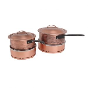 Hammered Burnt Copper Sauce Pans